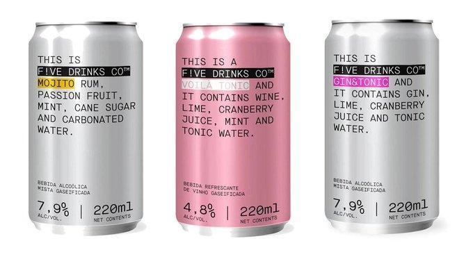F!ve Drinks traz coquetéis alcoólicos em lata para o Brasil