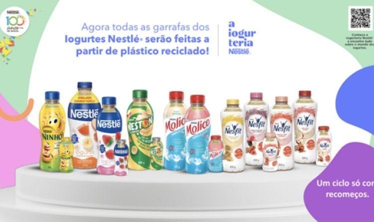 Nestlé desenvolve garrafas de plástico reciclado pós-consumo para seus iogurtes