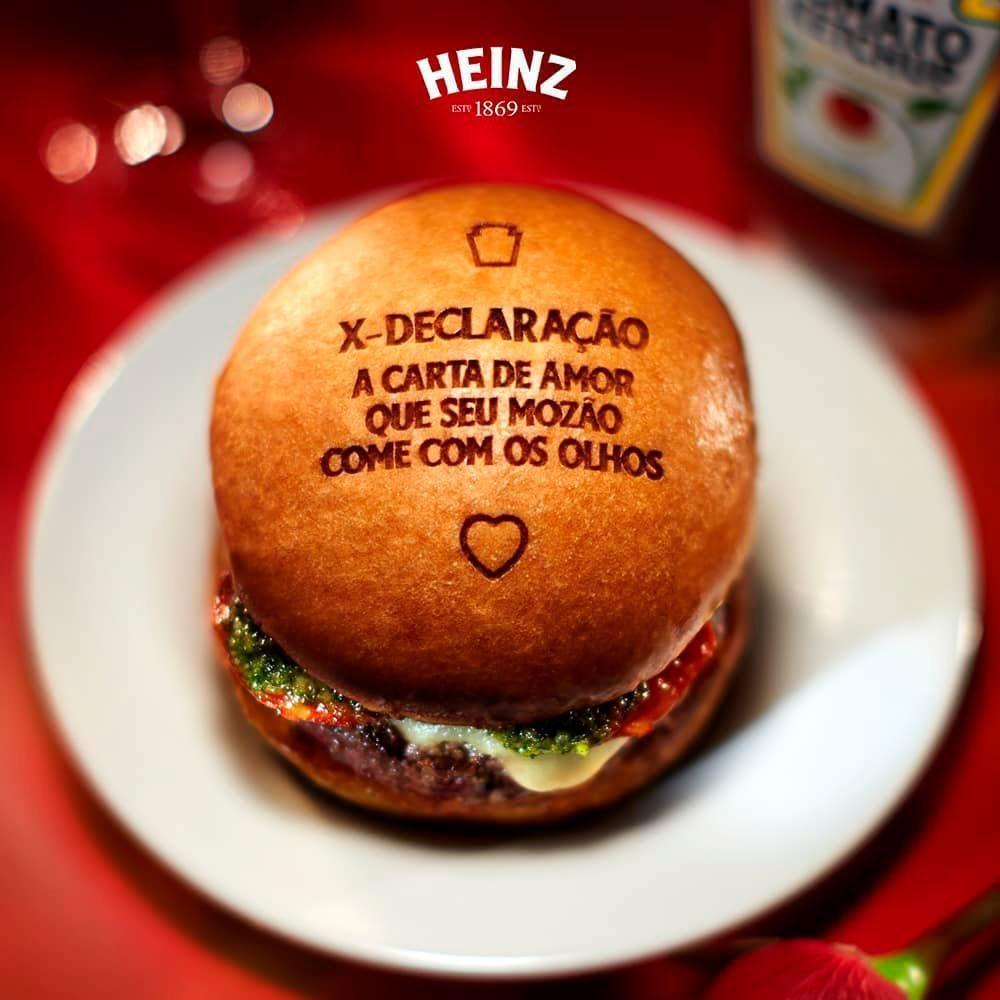 Heinz faz ação para o Dia dos Namorados com declarações em hambúrgueres